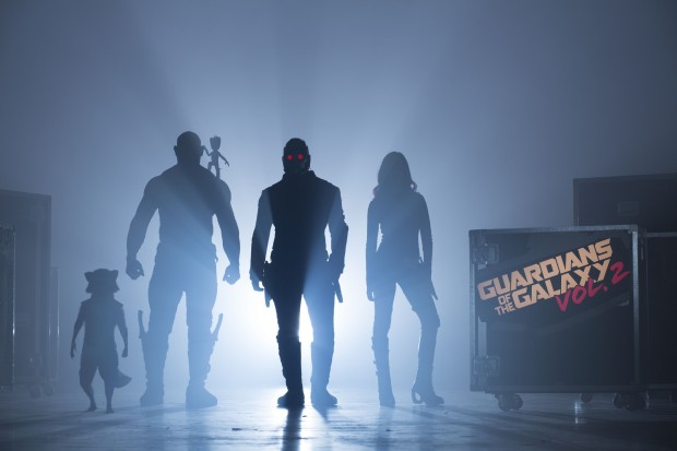 Guardians Of The Galaxy Vol. 2 Start of Production Image L to R: Rocket (voiced by Bradley Cooper), Drax (Dave Bautista), Groot (voiced by Vin Diesel), Peter Quill/Star-Lord (Chris Pratt) and Gamora (Zoe Saldana) ©Marvel 2017