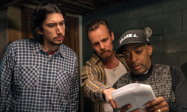 4117_D002_00396_R (l-r.) Actors Adam Driver and Jasper Pääkkönen  with director Spike Lee on the set of Spike Lee's BlacKkKlansman, a Focus Features release. Credit: David Lee / Focus Features
